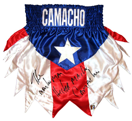 "Hector ""Macho"" Camacho Autographed Puerto Rico Boxing Trunks"