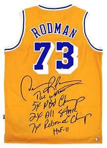 Dennis Rodman Autographed Official NBA Lakers Stat Jersey