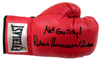 "Not Guilty! Rubin ""Hurricane"" Carter Autographed Everlast Boxing Glove"