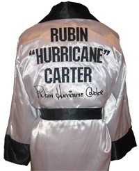 "Rubin ""Hurricane"" Carter Autographed White Boxing Robe"