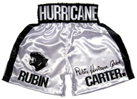 "Rubin ""Hurricane"" Carter Autographed White Boxing Trunks"
