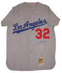 Sandy Koufax Signed Away Dodgers Jersey With CY 63,65,66 Inscription