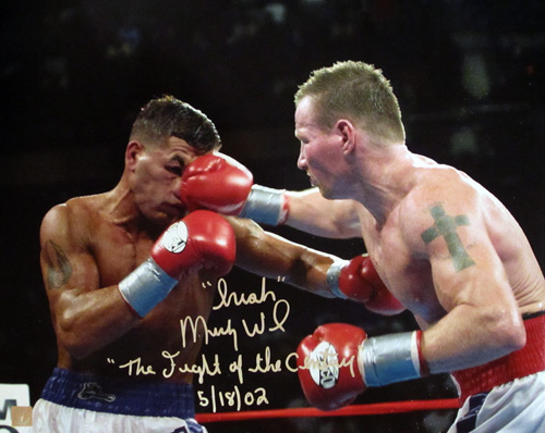 """Irish"" Micky Ward Signed 16x20 Photo vs Arturo Gatti With ""Fight of The Century 5/18/02"" Inscription"