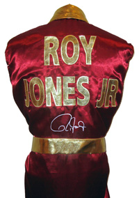 Roy Jones Jr. Signed Burgundy Boxing Robe