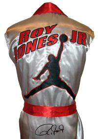 Roy Jones Jr. Signed Silver Boxing Robe