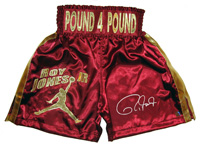 Roy Jones Jr. Autographed Burgundy Boxing Trunks