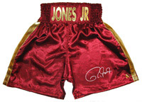 Roy Jones Jr. Signed Burgundy Boxing Trunks