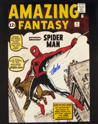 Stan Lee Autographed Spiderman Amazing Fantasy 16x20 Photo