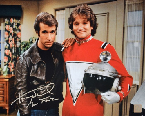 "Henry Winkler ""The Fonz"" Happy Days Autographed 11x14 Photo w/ Robin Williams ""Mork"""