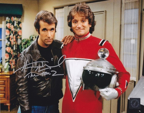 "Henry Winkler ""The Fonz"" Happy Days Autographed 8x10 Photo w/ Robin Williams ""Mork"""