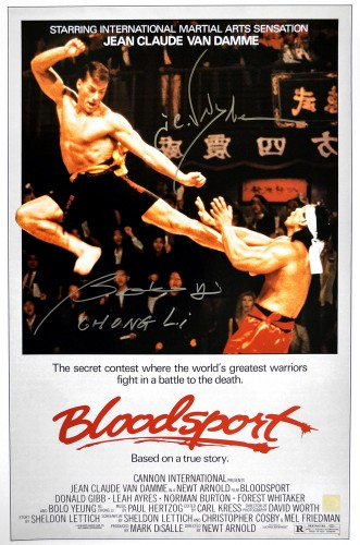 "Jean Claude Van Damme & Bolo Yeung ""Chong Li\"" Autographed Bloodsport 16x24 Movie Poster"