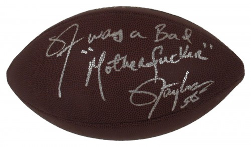 "Lawrence Taylor ""LT WAS A BAD MOTHERFUCKER"" Autographed NFL Official Size Pro Grip Football"