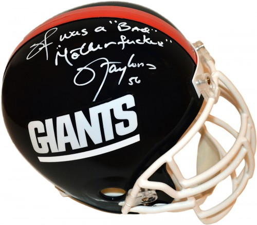 "Lawrence Taylor ""LT WAS A BAD MOTHERFUCKER"" Autographed New York Giants Football Helmet"