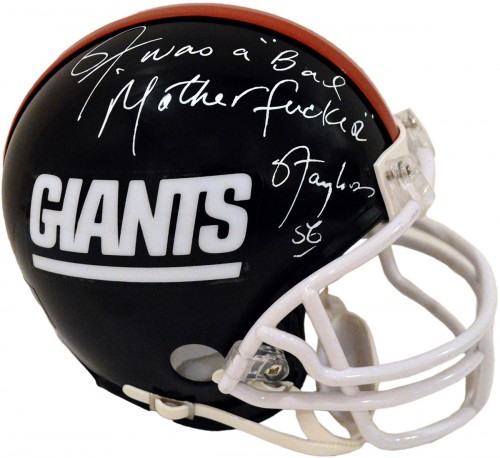 "Lawrence Taylor ""LT WAS A BAD MOTHERFUCKER"" Autographed New York Giants Mini Football Helmet"