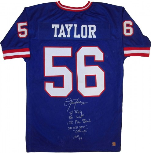 Lawrence Taylor Autographed Blue New York Giants Stat Football Jersey