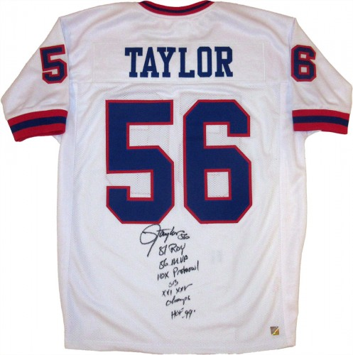 Lawrence Taylor Autographed White New York Giants Stat Football Jersey