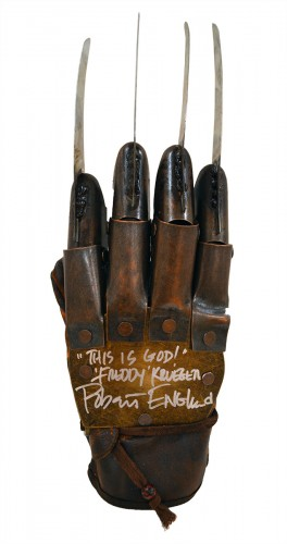 "Robert Englund Autographed NOES Part 3 Freddy Krueger Metal Glove With ""This Is God"" Inscription"
