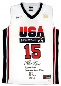 Magic Johnson Autographed Official USA Olympic Dream Team Stat Basketball Jersey