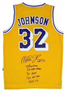 Magic Johnson Autographed Official NBA Yellow Lakers Basketball Stat Jersey