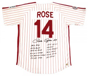 Pete Rose Autographed Official MLB Philadelphia Phillies Stat Jersey