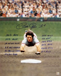 Pete Rose Autographed The Dive 16x20 Stat Photo