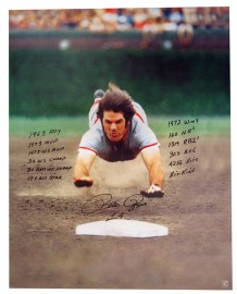 "Pete Rose ""The Dive"" Autographed 28x35 Stat Canvas Print"