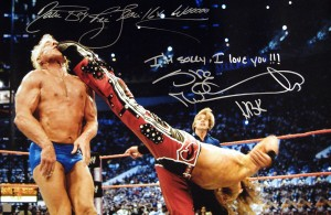 """I'm Sorry, I Love You"" Shawn Michaels & ""Nature Boy Ric Flair 16X Wooooo"" Autographed 20x30 Photo"