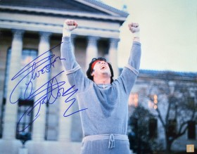 "Sylvester Stallone Autographed ROCKY 16x20 Photo ""ON MUSEUM STAIRS"""