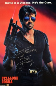 Sylvester Stallone Autographed COBRA 20x30 Movie Poster