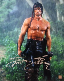 Sylvester Stallone Autographed RAMBO II 16x20 Photo