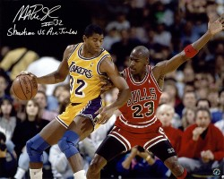 "Magic Johnson Autographed 16x20 Photo vs. Michael Jordan ""Showtime vs Air Jordan"" Inscription"