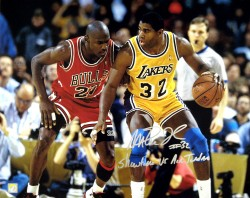 "Magic Johnson Signed 16x20 Photo vs. Michael Jordan ""Showtime vs Air Jordan"" Inscription"