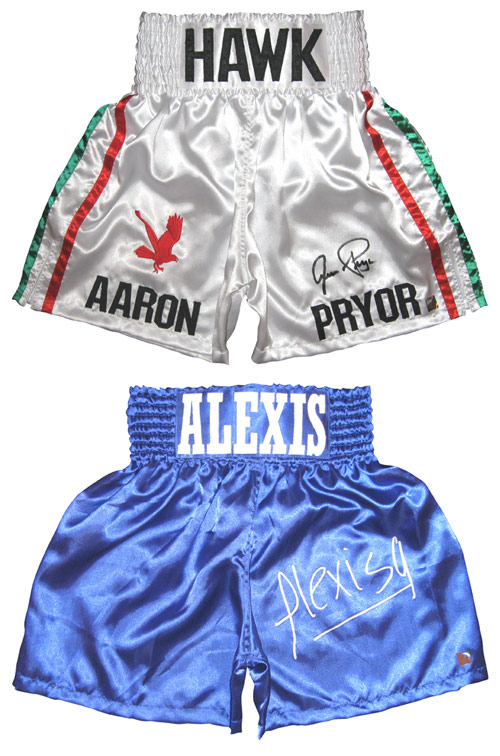 Aaron Pryor & Alexis Arguello Autographed Boxing Trunks