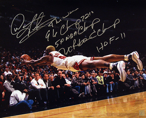 Dennis Rodman Autographed The Dive 16x20 Stat Photo