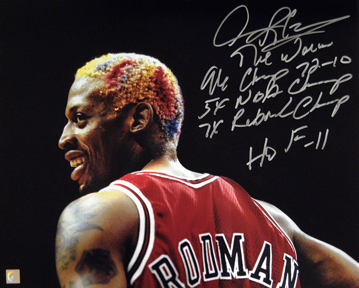 the best attitude b3e02 c91cd Dennis Rodman Autographed Headshot 16x20 Stat Photo ...