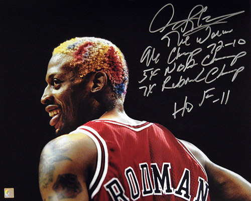 Dennis Rodman Autographed Headshot 16x20 Stat Photo
