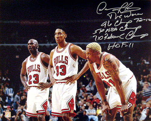 Dennis Rodman Autographed 16x20 Stat Photo w/ Michael Jordan & Scottie Pippen