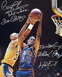 Dennis Rodman Autographed 16x20 Stat Photo vs Jabbar