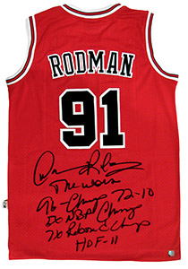 Dennis Rodman Autographed Official NBA Red Bulls Stat Jersey