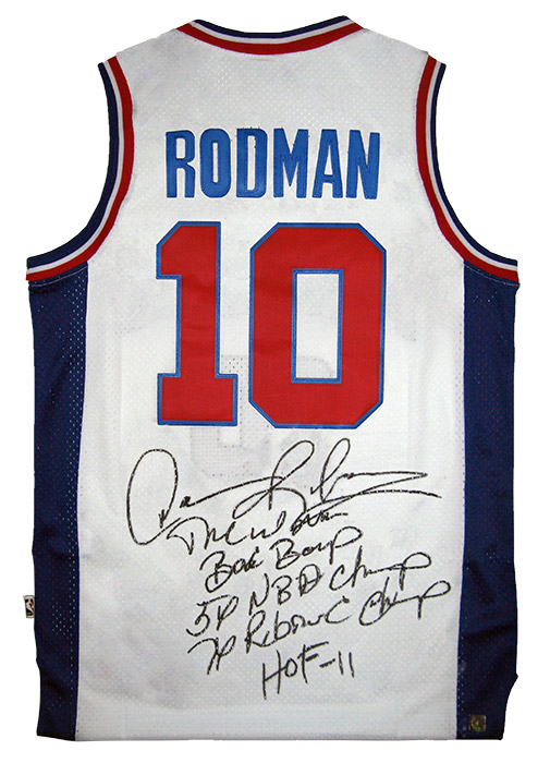 Dennis Rodman Autographed Official NBA White Pistons Stat Jersey