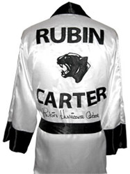 "Rubin ""Hurricane"" Carter Autographed White Panther Boxing Robe"