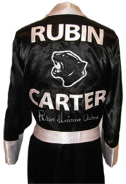 "Rubin ""Hurricane"" Carter Autographed Black Panther Boxing Robe"