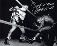 Jake LaMotta Signed 16x20 Photo Knocking Sugar Ray Robinson Out Of The Ring