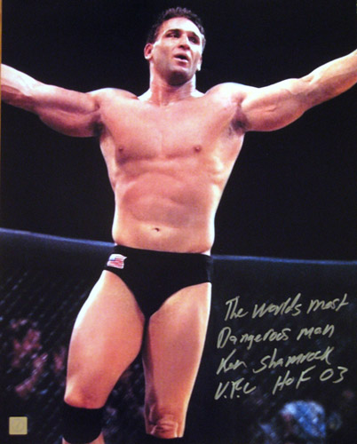 "Ken Shamrock Signed 16x20 Photo ""Celebrating"""