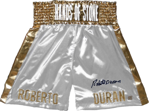 Roberto Duran Autographed White Boxing Trunks