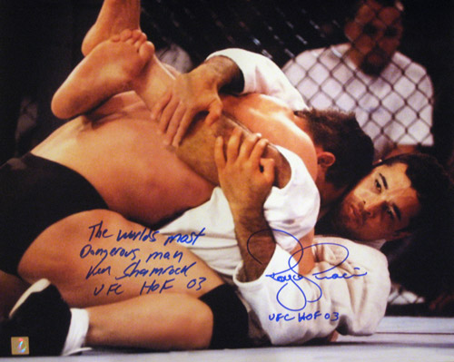 "Royce Gracie & Ken Shamrock Signed ""On Mat"" 16x20 Photo"