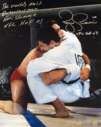"Royce Gracie & Ken Shamrock Signed ""Take Down"" 16x20 Photo"
