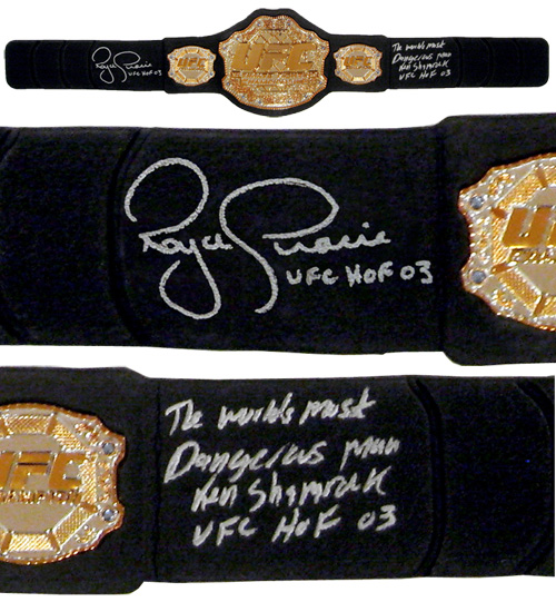 Royce Gracie & Ken Shamrock Signed UFC Replica Heavyweight Championship Belt