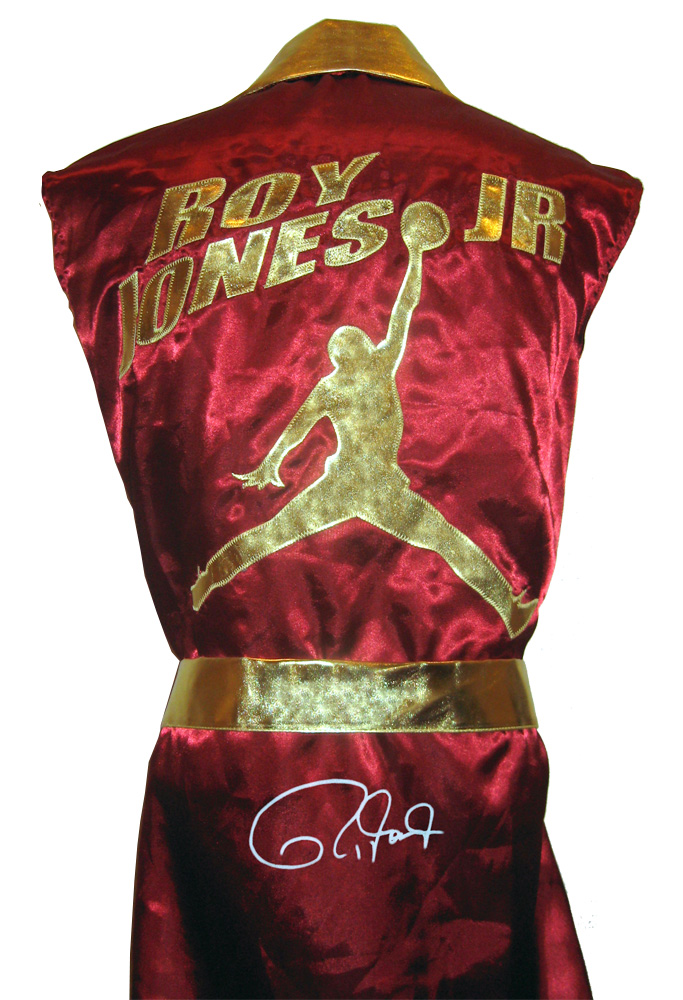 Roy Jones Jr. Autographed Burgundy Boxing Robe