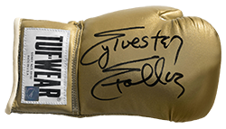 Sylvester Stallone Autographed Tuf Wear Gold Boxing Glove